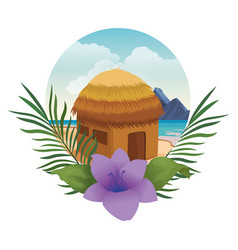 Beach kiosk with flower and leaves round icon vector
