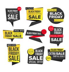 black friday sale banner set discount tag vector image