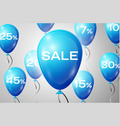 Blue balloons with an inscription sale sale vector