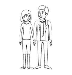 blurred silhouette of man and woman standing and vector image