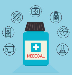 bottle drugs with medical healthcare icons vector image