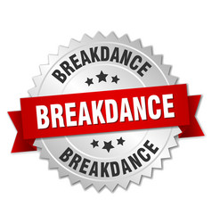 Breakdance 3d silver badge with red ribbon vector