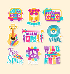 Bright hippy-themed vector