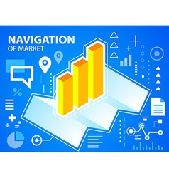 Bright navigate map and bar chart on blue ba vector