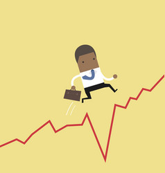 businessman jumps over the gap in growth chart vector image
