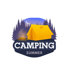 camping tent hiking or trekking tourism club icon vector image
