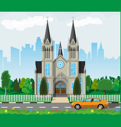 Catholic church cathedral with city skylines vector