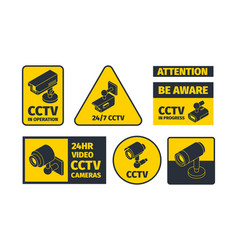 cctv systems information badges safety anounce vector image