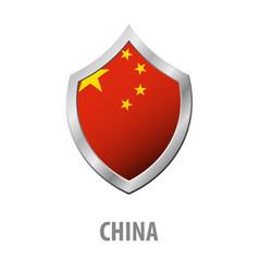 china flag on metal shiny shield vector image