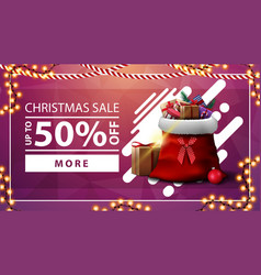 christmas sale up to 50 off pink discount banner vector image