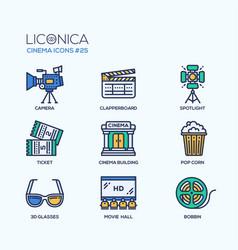 cinema - modern flat line design icons set vector image