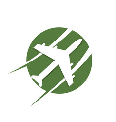 Circle travel plane logo template in green color vector