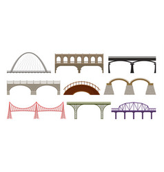city bridges of different design on white vector image