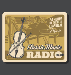 classic musical instruments classical music radio vector image