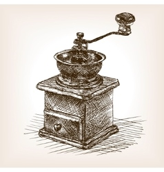 Coffee mill sketch style vector
