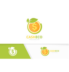 coin and leaf logo combination money and vector image
