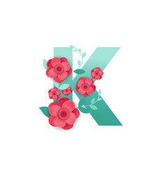 color letter k with beautiful flowers vector image