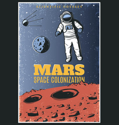 Colored vintage mars exploration poster vector