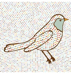 Colorful bird on dotted background vector image