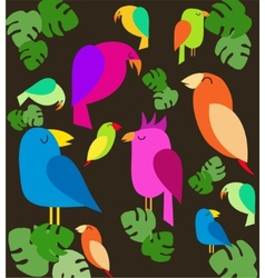 Colorful parrots on trees vector