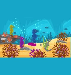 colorful underwater scene with sea horses vector image