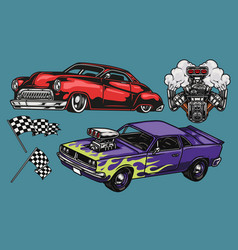custom cars colorful vintage concept vector image