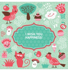 Cute cartoon elements greeting card vector
