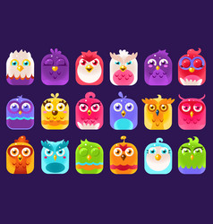 Cute colorful birds sett with different emotions vector