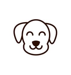 Cute face dog animal cartoon icon thick line vector
