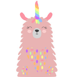 Cute lama with a unicorn horn in color the vector