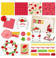 Design Elements - Poppy Flowers Theme vector image