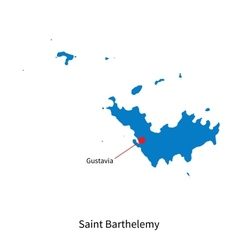 Detailed map of Saint Barthelemy and capital city vector