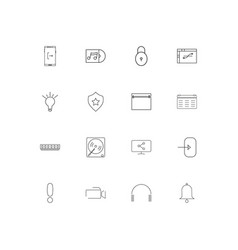 Devices simple linear icons set outlined icons vector