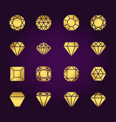 Diamonds shapes gold icons set vector