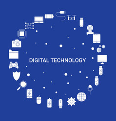 digital technology icon set infographic template vector image