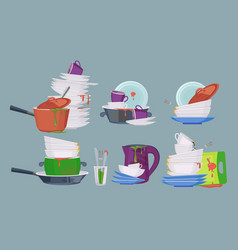 Dirty dish restaurant kitchen empty items for vector