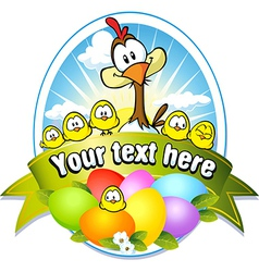 Easter label with colorful eggs chicken and hen vector