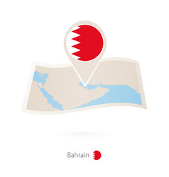 Folded paper map bahrain with flag pin vector