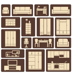 Furniture flat design icons set vector image