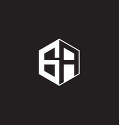 Ga logo monogram hexagon with black background vector