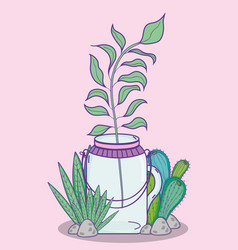 Garden mason jar cartoon vector