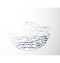 Half circle technology circuit mesh diagram vector