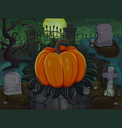 halloween pumpkin on cemetery background vector image