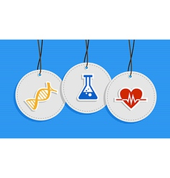 Hanging medical care badges vector