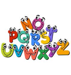 Happy alphabet letter characters cartoon vector