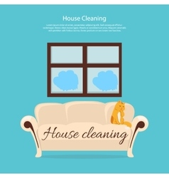 House Cleaning Cat on Sofa Design Flat vector image