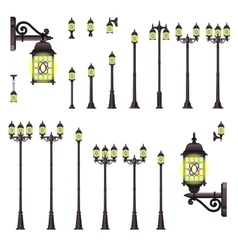 Isolated set of Old Style Street lanterns vector image