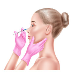 Liposuction surgery doctor hand and syringe vector