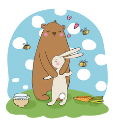 lovely cartoon bear and hare a pot of honey vector image