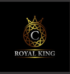 Luxury letter c royal king logo design vector